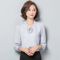ขาย เสื้อเกาหลีเสื้อชีฟองสีขาวเพศหญิง สีเทา Other ออนไลน์
