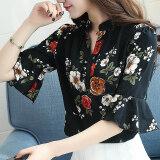 เสื้อเชิ๊ตชีฟอง แขนสั้น ลายดอกไม้ ไซส์ใหญ่ สไตล์สาวเกาหลี สีดำ สีดำ ถูก