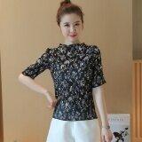 ราคา Looesn เกาหลี Suihua ชีฟองเสื้อเสื้อยืดแขนสั้น Bottoming เสื้อขนาดเล็ก สีดำ ออนไลน์