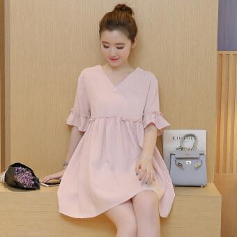 LOOESN เกาหลีผ้าฝ้ายฤดูร้อน V คอหญิงตั้งครรภ์เสื้อผ้าชุด (สีชมพู)