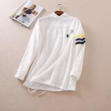 ขาย ซื้อ ออนไลน์ Wumart Wd300 เสื้อเชิ้ตสีขาวปักใหม่หลวมเสื้อสวมหัว สีขาว