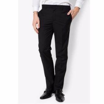 LOOKNAM กางเกงขายาว ผู้ชาย ทรงกระบอกเล็ก สีดำ ผ้ากัมดิน(ไม่ยืด)