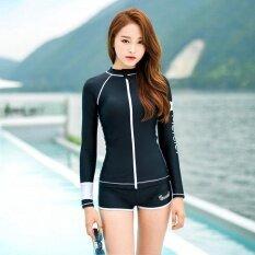 รูปแบบความรัก Letter Print ชุดสตรีแฟชั่นสองชิ้นชุดว่ายน้ำป้องกันแสงแดด (สีดำ) - สนามบินนานาชาติ.