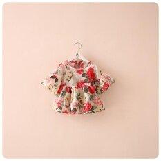 ขาย น่ารักเด็กวัยหัดเดินเด็กผู้หญิงเสื้อดอกไม้พิมพ์กระโปรง Casual ฤดูร้อนแขนยาวเสื้อ เป็นต้นฉบับ