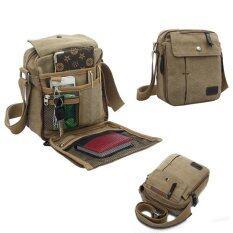 Lovesport สไตล์วินเทจผ้าทหาร ฟังก์ชันที่ส่งกระเป๋าสะพายย่ามท่องเที่ยว กากี ระหว่างประเทศ ใหม่ล่าสุด