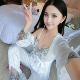 ราคา Lovin Fashion Women Ice Silk Secy Lace Loungewear Set Of 3 White Intl จีน