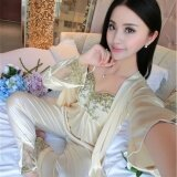 Lovin Fashion Women Ice Silk Secy Lace Loungewear Set Of 3 Champagne Intl ใหม่ล่าสุด