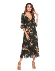 ขาย Low Profit Women V Neck Flare Sleeve Floral Print Maxi Long Dress Vintage Style Party Floral Intl ใหม่