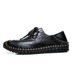 โปรโมชั่น แบรนด์หรูผู้ชายฤดูร้อนรองเท้าหนังแท้รองเท้าหนังผู้ชายรองเท้าใส่รองเท้าคุณภาพ นานาชาติ ใน จีน