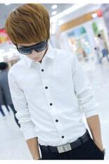 ขาย ความยาวแขนเสื้อลำลองเสื้อเชิ้ตบุรุษทรงเพรียวทันสมัย ขาว Unbranded Generic ใน จีน
