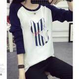 ซื้อ M Fashion เสื้อแฟชั่น คอกลม แขนยาวทูโทน ลายแมวเหมียว สีขาว น้ำเงิน รุ่น 8307 ถูก