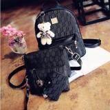 ราคา Maeva Shop กระเป๋าเป้สะพายหลัง กระเป๋าสะพายข้าง กระเป๋าถือ กระเป๋าแฟชั่นเกาหลี เซ็ต 4 ใบ สีดำ ใหม่ ถูก