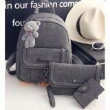 Maeva Shop กระเป๋าเป้สะพายหลัง กระเป๋าถือ กระเป๋าใส่กุณแจ เซ็ต 3 ใบ Mv3 002 สีเทา ถูก