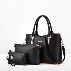 ซื้อ Maeva Shop กระเป๋าถือเซ็ต3ใบ กระเป๋าถือแฟชั่นเกาหลี กระเป๋าสตางค์ผู้หญิง กระเป๋าสะพายข้าง Mv3 025 สีดำ ใน Thailand