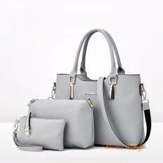 ราคา Maeva Shop กระเป๋าถือเซ็ต3ใบ กระเป๋าถือแฟชั่นเกาหลี กระเป๋าสตางค์ผู้หญิง กระเป๋าสะพายข้าง Mv3 025 สีเทา ใหม่