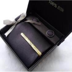 ราคา Mahkazi เนคไท 100 Silk สีเทาอมดำ ที่หนีบเนคไท กระดุม ผ้าเช็ดหน้าสูท Grey Necktie รุ่นNtgbl S สีเทาอมดำ ใน Thailand