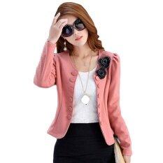 Makiyo New Women Korean Slim Long Sleeve Jacket Office Normal Blazer Ol Career Tops ( Pink ) - Intl.