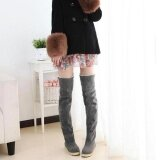 ขาย Makiyo Women Flat Bottom Shoes Over The Knee High Suede Long Snow Boots Grey Intl ผู้ค้าส่ง