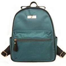 Mango Tsar Fashion Nylon ไนลอน Backpack กระเป๋าเป้สะพายหลัง Green สีเขียว ถูก