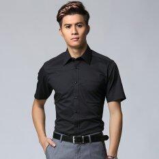 ขาย Manoble 2016 Brand New Men Thin Dress Shirts High Quality Cotton Blend Short Sleeves Solid Color Mens Casual Slim Fit Business Shirt Black จีน ถูก