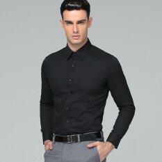 ขาย Manoble Men S Slim Fit Shirt 2018 Brand New Men S Long Sleeves Business Suits Business Affairs Shirts Solid Color Permanent Press Shirt Black จีน
