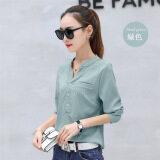 ขาย ที่น่าสนใจหญิงสวมใส่ด้านนอกคอวีเสื้อ Bottoming Qiuyi สีเขียว Unbranded Generic ออนไลน์