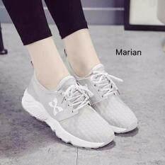โปรโมชั่น Marian รองเท้า รองเท้าผ้าใบแฟชั่น รองเท้าผ้าใบผู้หญิงสีเทา รุ่น A014 Grey Marian