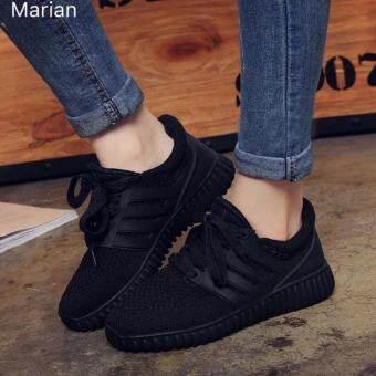 Marian รองเท้า รองเท้าผ้าใบแฟชั่น รองเท้าผ้าใบผู้หญิงสีดำ รุ่น A045