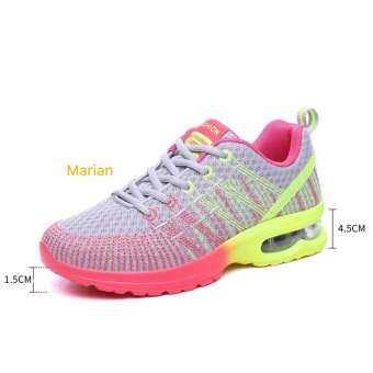 Marian รองเท้าผ้าใบผู้หญิง รองเท้าแฟชั่นสไตล์เกาหลี No.A052- (สีเทา+ชมพู)