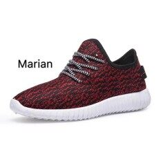 Marian รองเท้า รองเท้าผ้าใบสีดำผู้ชาย No.A071 - Red