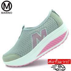 โปรโมชั่น Marino รองเท้าผ้าใบสีดำ รองเท้าเพิ่มความสูงสำหรับผู้หญิง No A010 Gray ใน กรุงเทพมหานคร