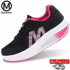 ขาย Marino รองเท้าผ้าใบ รองเท้าเพิ่มความสูงสำหรับผู้หญิง No A013 Black Pink