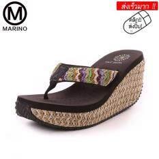 ซื้อ Marino รองเท้าลำลองส้นเตารีด รองเท้าแฟชั่นผู้หญิง No A034 Coffee Marino