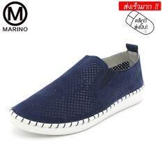 ขาย Marino รองเท้าหนังแท้ผู้หญิง รองเท้าหนังแท้คัทชู No A043 Blue เป็นต้นฉบับ