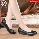 ซื้อ Marino รองเท้าหนังแท้ผู้หญิง รองเท้าหนังแท้คัทชู No A044 Black ถูก ใน กรุงเทพมหานคร