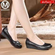 ทบทวน ที่สุด Marino รองเท้าหนังแท้ผู้หญิง รองเท้าหนังแท้คัทชู No A044 Black