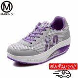 ซื้อ Marino รองเท้าผ้าใบ รองเท้าเพิ่มความสูงสำหรับผู้หญิง No A013 Grey Purple Marino เป็นต้นฉบับ