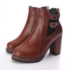 โปรโมชั่น สาวส้นสูงรัดหนังยางหนาเท่าก้นไปรษณีย์ Martins แฟชั่นรองเท้าสตรีรองเท้าบู๊ต ระหว่างประเทศ ถูก