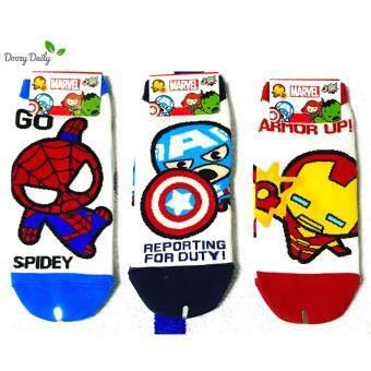 Marvel Socks ผลิตภัณฑ์ลิขสิทธิ์ ถุงเท้าผู้ชาย Spider-Man Captain America Iron Man (3 คู่)