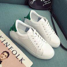 ขาย Maylin Shoes รองเท้าผ้าใบผู้หญิง รองเท้าผ้าใบสีขาว รองเท้าแฟชั่นผู้หญิง รุ่น Sm 020 สีขาว สีเขียว กรุงเทพมหานคร