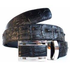 ราคา Mcroc เข็มขัดหนังจระเข้แท้ ส่วนกระดูก สีดำ ใหม่