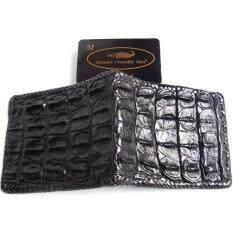 ขาย Mcroc กระเป๋าสตางค์หนังจระเข้แท้ ถักขอบ ส่วนกระดูกสันหลัง สีดำ ออนไลน์