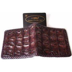 ราคา Mcroc กระเป๋าสตางค์หนังจระเข้แท้ ถักขอบ ส่วนกระดูกสันหลัง สีน้ำตาล ที่สุด