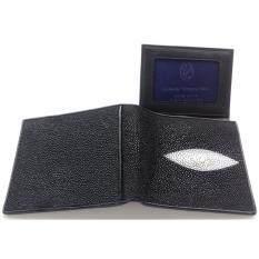 ซื้อ Mcroc กระเป๋าสตางค์หนังปลากระเบนแท้ 1ตา สีดำ มีกระเป๋าหลัง ถูก