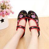 ราคา จีนลมเก่ารองเท้าผ้าปักกิ่งเพศหญิงรองเท้าเต้นรำสแควร์ สีดำ Meihua ใหม่