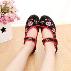 ราคา จีนลมเก่ารองเท้าผ้าปักกิ่งเพศหญิงรองเท้าเต้นรำสแควร์ สีดำ Meihua เป็นต้นฉบับ Other