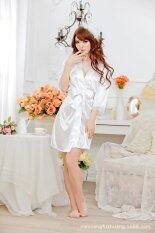 ขาย ซื้อ ออนไลน์ Meiniang Brand Lingerie S*xy Cute Lace Cardigan Suit Strap Gown Bathrobe Silk Factory 7012 Intl