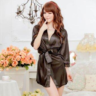 MeiNiang Brand lingerie sexy cute lace cardigan suit strap gown bathrobe silk factory 7012 - intl