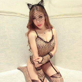 MeiNiang Brand Lingerie Sexy Leopard temptation suit sling Siamese Nightgown five piece set socks gloves 7064 - intl