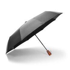 ผู้ชายไม้อัตโนมัติจับร่มกันฝนพับได้สองชั้นป้องกันรังสีอัลตราไวโอเลตร่มกันแดดร่ม Ls0012 (สีดำ) - Intl By Sharemay.